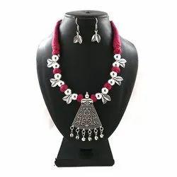 Oxidized Pink Thread Leaf Necklace Set