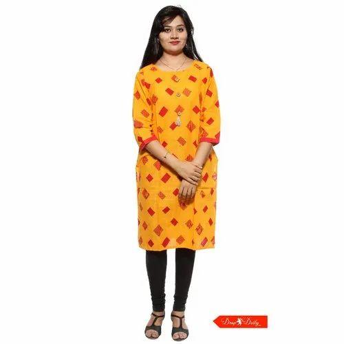 3/4th Sleeve Yellow Polka Dots Cotton Printed Kurti
