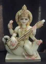 Marble Painted Saraswati Statue