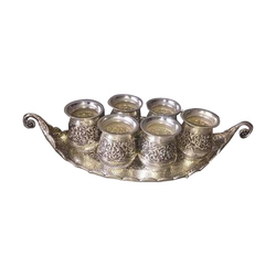 Silver Glass With Tray