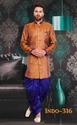 Brocade Wedding Wear Mens Indo Western Jacket Dhoti Patiala