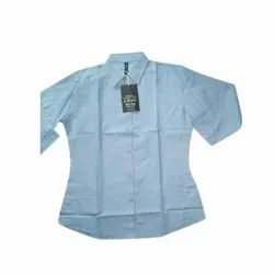 3/4th Sleeves Plain Ladies Forrmal Cotton Shirt, Size: Available In M To 5XL