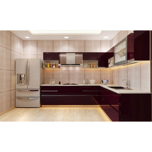 L Shaped Acrylic Modular Kitchen