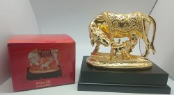 Gold Plated OM Cow and Calf Statue