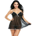 Ladies Black Satin Short Nightdress