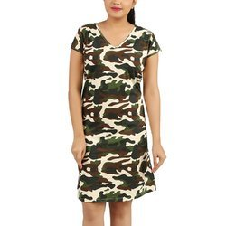 Clifton Womens Army Printed Long Top