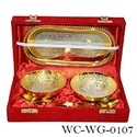 Gold Plated Bowl 2 Spoon 1 Tray (Set Of 5)