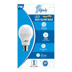 Round Cool daylight 7W Aluminium LED Bulb, Base Type: B22, Model Name/Number: UJ-MG-7W