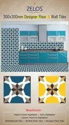 ZELOS Multicolor Designer Kitchen Wall Tiles, Packaging Type: 8 Pcs, Thickness: 8 - 10 mm