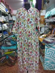 Cotton Party wear Hand Block Printed Dress, Packaging Type: Bag