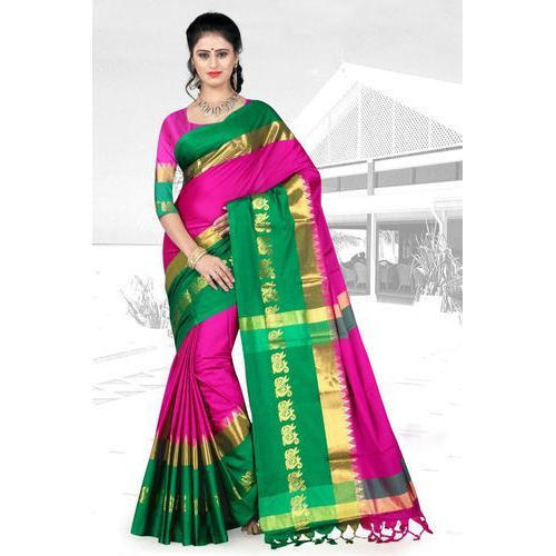 93ff994ea9 Green And Golden Border Ladies Trendy Cotton Silk Aangi Saree, With Blouse  Piece