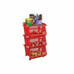 Spacio Multipurpose Plastic Storage Rack - 3 Tier, Packaging Type: Box, Shape: Rectangular