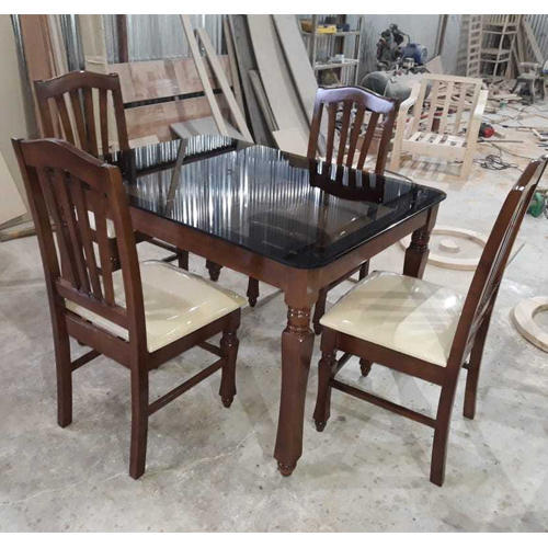 Wooden Brown Gl Countertop Dining Table