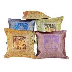 Jaipuri Brocade Quilted Cushion Cover 110