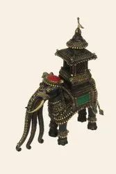 Multicolor Brass Dhokra Art Large Elephant Metal Figurine Carrying Temple, For Interior Decor