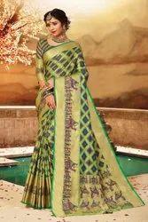 Thankar 5.5 m (separate blouse piece) Latest Stylish Designer Handloom Cotton Silk Saree, With Blouse Piece