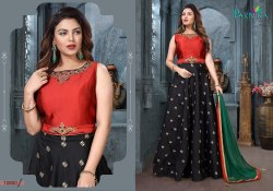 Embroidery Fancy Designer Gown With Dupatta By Parvati Fabric