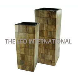 Decorative Wooden Flower Pot Set of 2