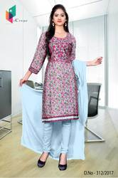 Pink and Sky Blue Italian Crepe Uniform Salwar Kameez