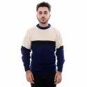Round Neck Black Blue White Solid Sweater