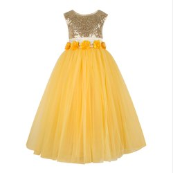Yellow Girls Party Wear Gown, Age: 2-3 to 11-12 Years