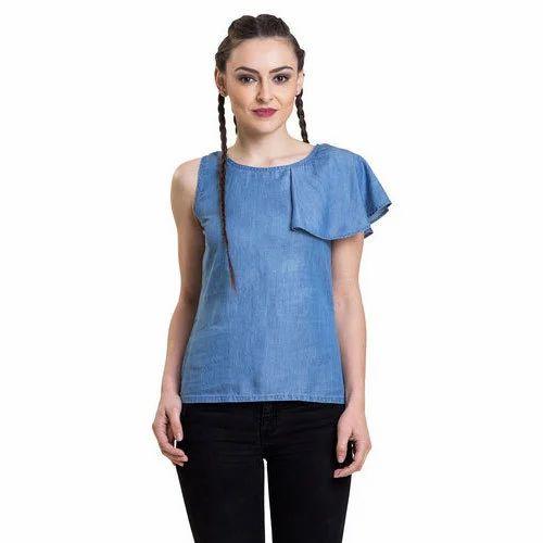 a837213726a228 Small   Medium Blue Women Denim Ruffle Top