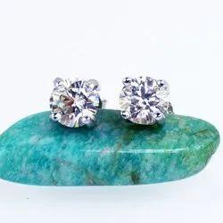 Fancy Brilliant 1 Carat White Moissanite Diamond 925 Sterling Silver Earrings Studs