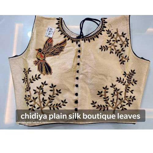 2c00e4a8a6c51 Cream Embroidered Ladies Silk Round Neck Blouse