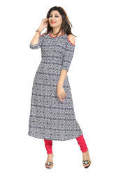 Cold Shoulder  Crepe Kurti