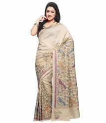 Pure Handloom Silk Kantha Stitch Saree