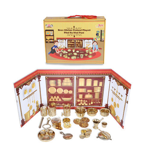 Kitchen Sets Desi Toys Brass Miniature Rolling Pin Pretend Toy Play Set Cooking Play Set Kitchen Play Set Manufacturer From Thane