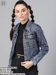 Blue Denim Pearl Studded Jacket