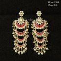 Ethnic Kundan Pearl Chand Bali Earrings