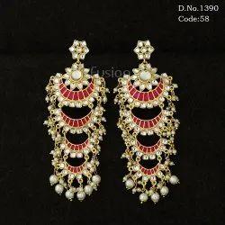 Ethnic Kundan Pearl Chand Bali Earrings