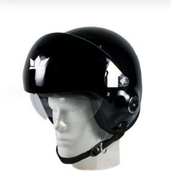 Glossy Black Male The Squadron Motorcycle Open Face Helmet With Twin