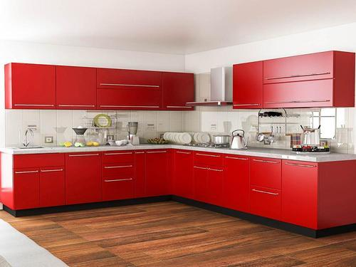 Plywood L Shape Red Modular Kitchen, Rs 1800 /square feet ...