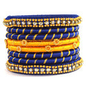 Yellow And Blue Silk Thread Bangle Set