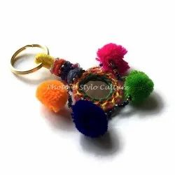 Wedding Handmade Silk Thread Mirror Pom Pom Balls & Beads Key Rings