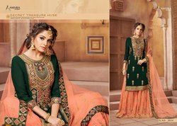 As Shown In Image Multicolor Georget heavy embroidery bridal suit