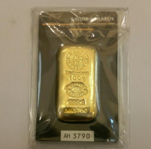 Cast Bars Switzerland 100 Grams Gold Bullion India Size 45 X 24 X 5 5 Rs 3480 Gram Id 21858368055