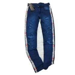 Zipper Blue Stretchable Women Denim Jeans, Dry Clean, Waist Size: 28-38