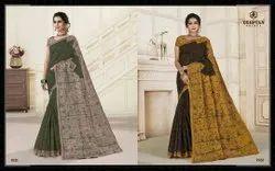 Printed Hand Wash Designer Stitched Saree