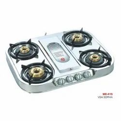 Silver Stainless Steel MC-415 Four Burner Stove for Kitchen
