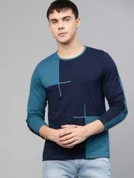 Seven Rocks Cotton Blue And Green Designed T Shirt, Size: S to XXL