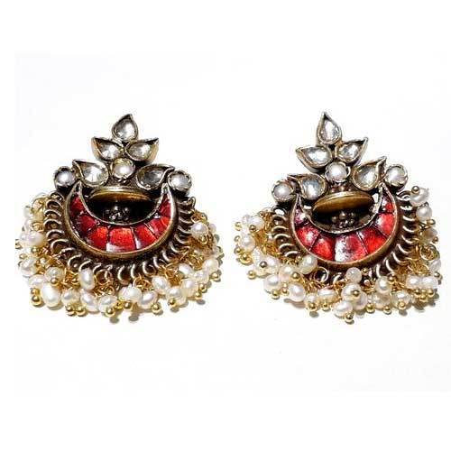 Red Stone Gold Earrings