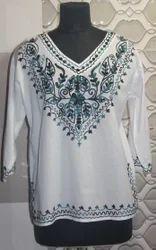 Ladies Full Sleeve V-Neck Cotton Tops