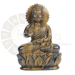 Ur Astro Yellow Tiger Eye Semiprecious Stone Buddha Statue
