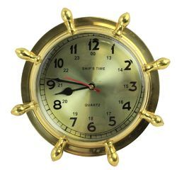 Hanging Wall Decor Brass Lacquered Ships Wheel Clock