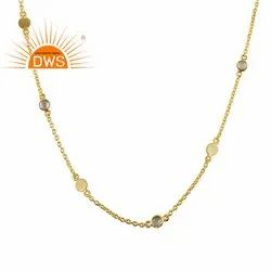 White Zircon Set 925 Sterling Silver Gold Plated Necklace