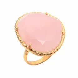 Pink Chalcedony Gemstone Gold Plated Designer Rings